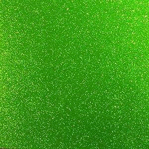 "Apple Green Glitter Vinyl 12"" by 15 FEET Transparent Glitter Adhesive Roll - for Cricut, Silhouette Cameo, Craft Cutters, and Die Cutters by (Green Glitter)"