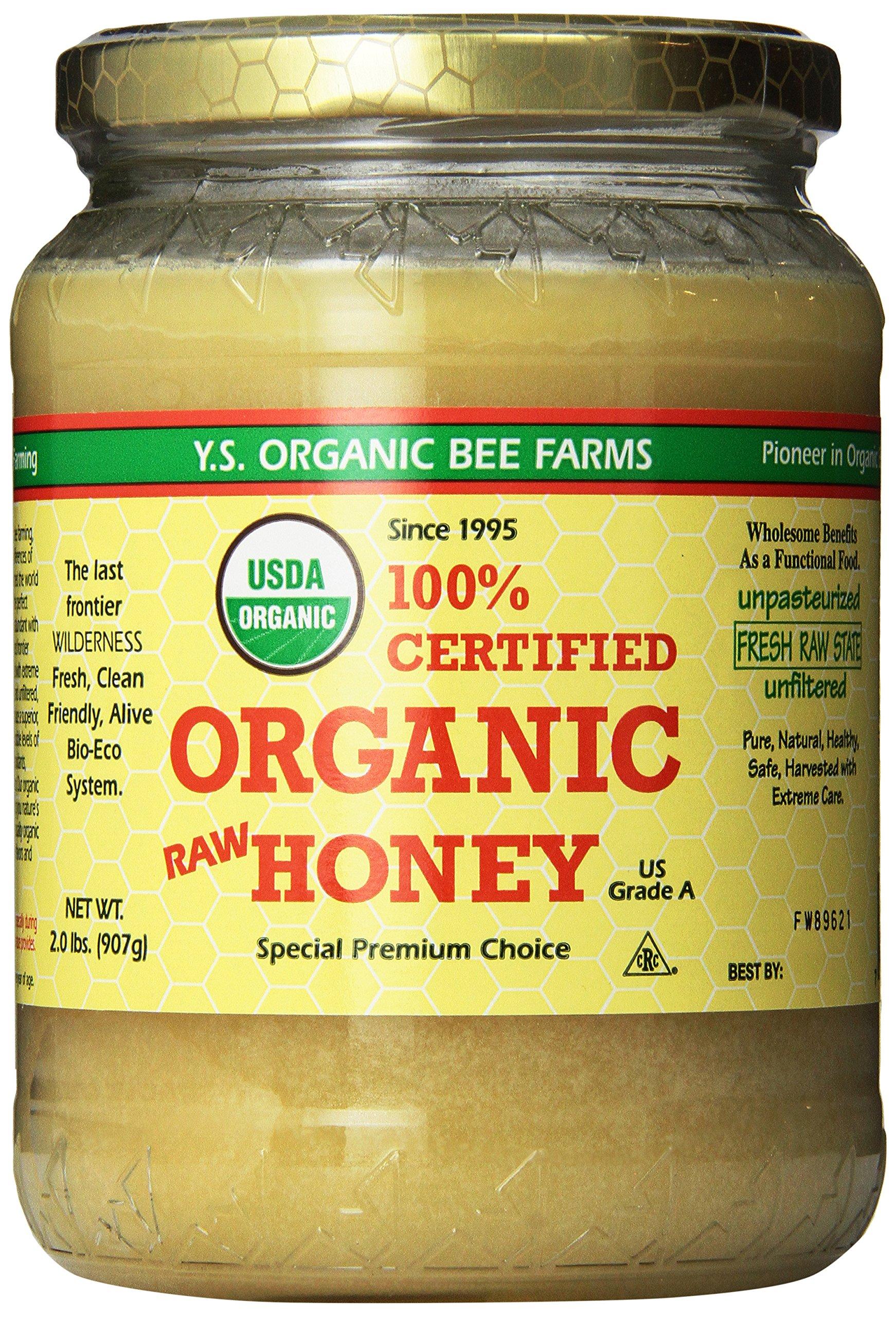 YS Organic Bee Farms Certified Organic Raw Honey 100% Unprocessed, Unpasteurized - Kosher 32oz 2 Lbs