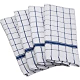 "DII Cotton Terry Windowpane Dish Towels, 16 x 26"" Set of 4, Machine Washable and Ultra Absorbent Kitchen Bar Towels-Blue"