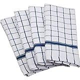 "DII 100% Cotton, Machine Washable, Ultra Absorbant, Basic Everyday 16 x 26"" Terry Kitchen Dish towel,  Set of 4- Blue Window Pane"