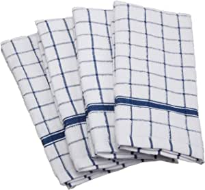 DII 100% Cotton, Machine Washable, Ultra Absorbant, Basic Everyday 16 x 26 Terry Kitchen Dish Towel, Set of 4- Blue Window Pane