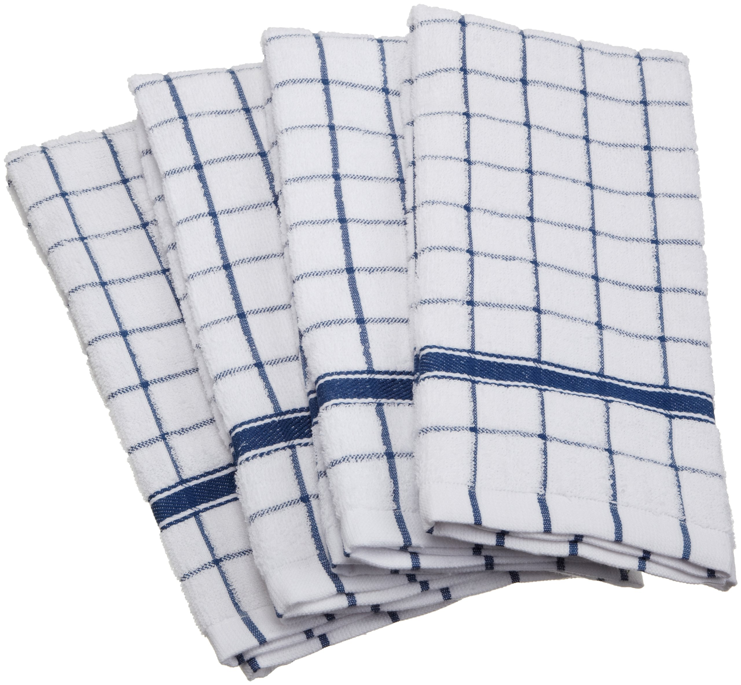 DII Cotton Terry Windowpane Dish Towels, 16 x 26'' Set of 4, Machine Washable and Ultra Absorbent Kitchen Bar Towels-Blue