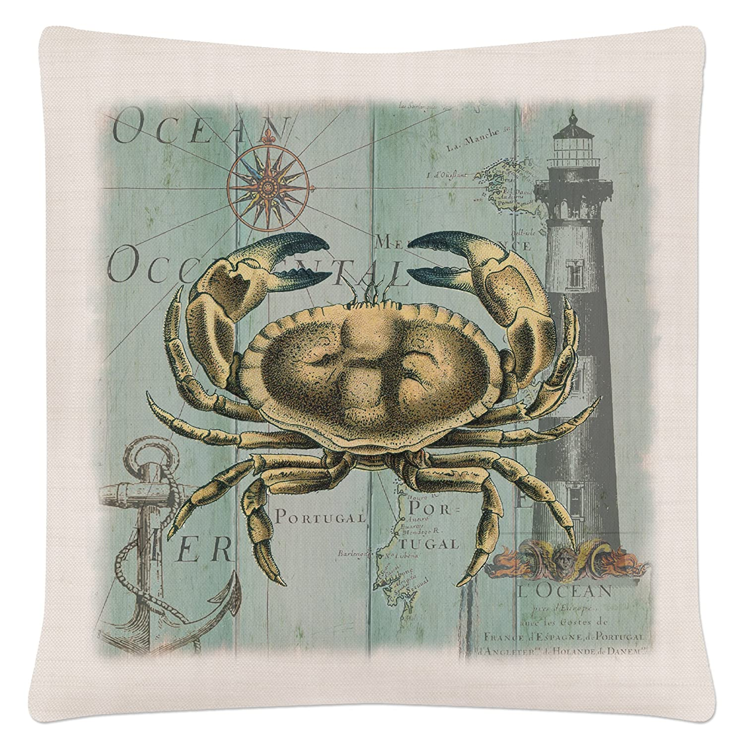Pillow Crab Heritage Lace Coastal Collage 18 X 18 Oyster