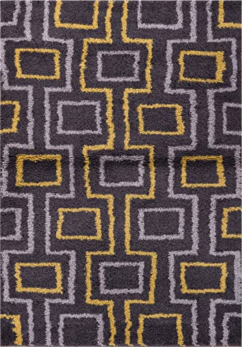 Well Woven Madison Shag Prism Place Grey Gold Modern Area Rug 3 3 X 5 3