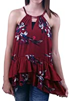 Miss Me MDT1445T Red Wine Floral Keyhole Ruffle Halter Top