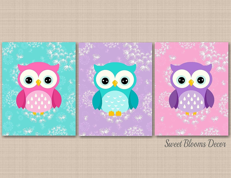 Owl Nursery Wall Art,Owl Nursery Decor,Purple Pink Teal Owl Nursery Decor,Owl Wall Art,Purple Teal Dandelion Nursery Wall Art,Owl Baby Room Decor-UNFRAMED Set of 3 PRINTS (NOT CANVAS)C396