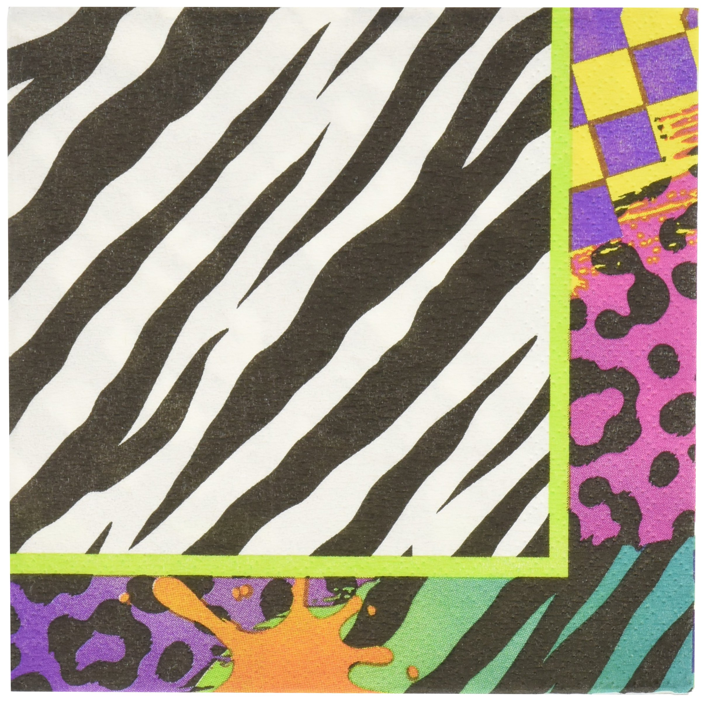 Amscan Totally 80's Party Assorted Prints & Patters Medley Beverage Napkins (16 Piece), Multi Color, 5 x 5″