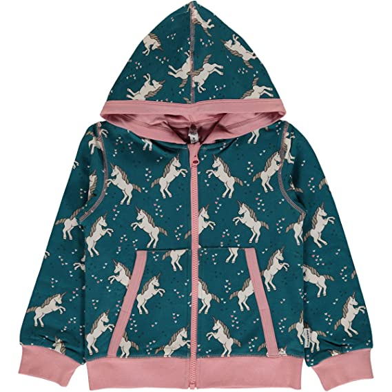 Maxomorra M/ädchen Kapuzenjacke Cardigan Hood Unicorn Dreams