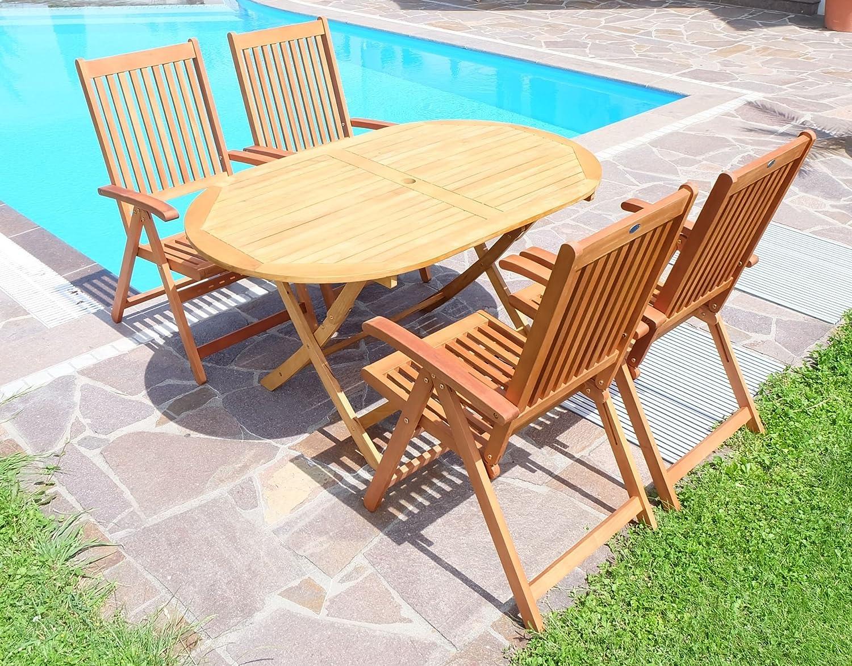 Gartengarnitur Tisch 150x90 + 4 Hochlehner 7-fach verstellbar LIMA (ACHTUNG TISCHFARBE HELLER) Eukalyptus wie Teak von AS-S