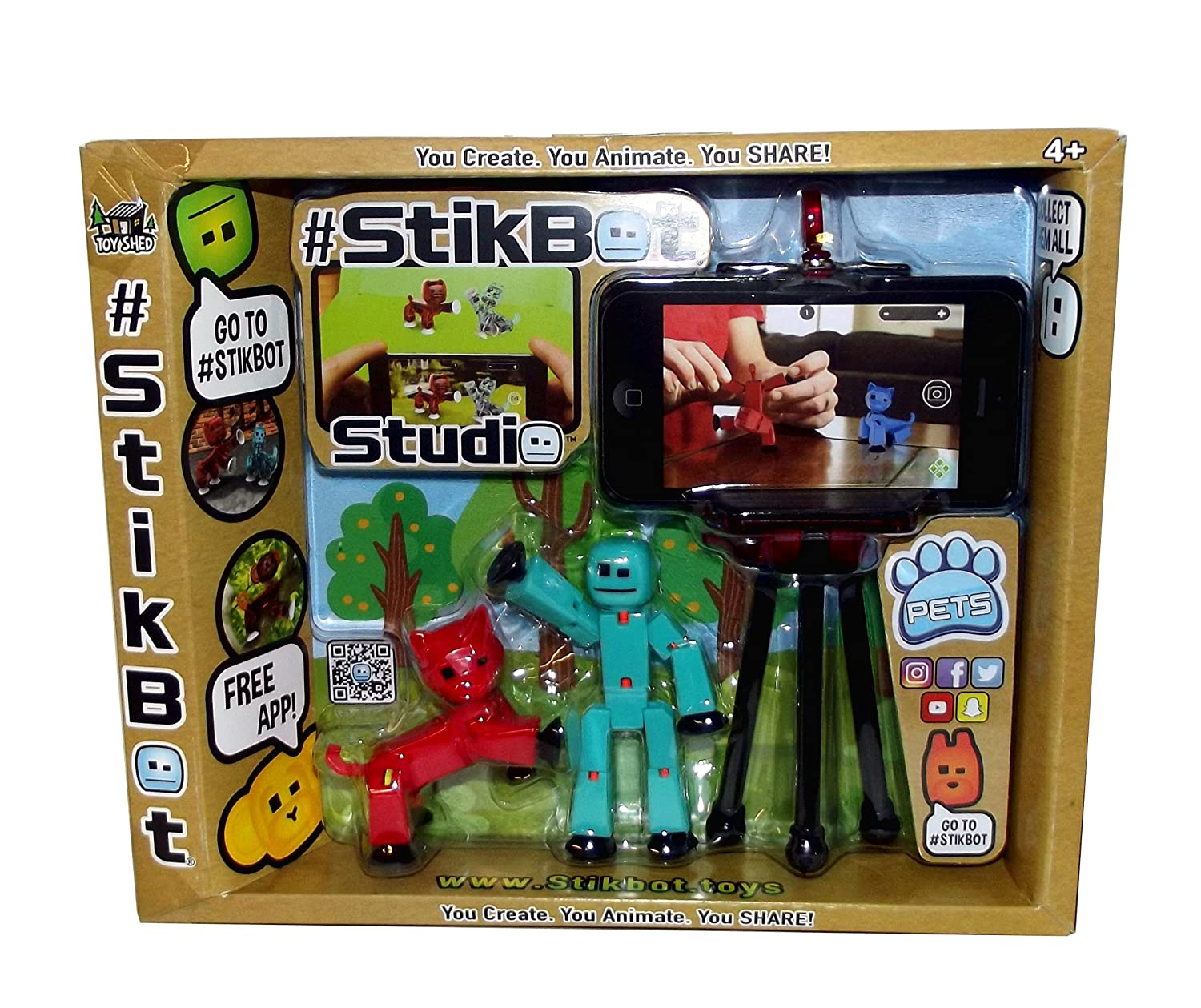 #Stikbot Pets Posable Figures with Tripod Set Red//Turqoise, Figure with Dog Zing