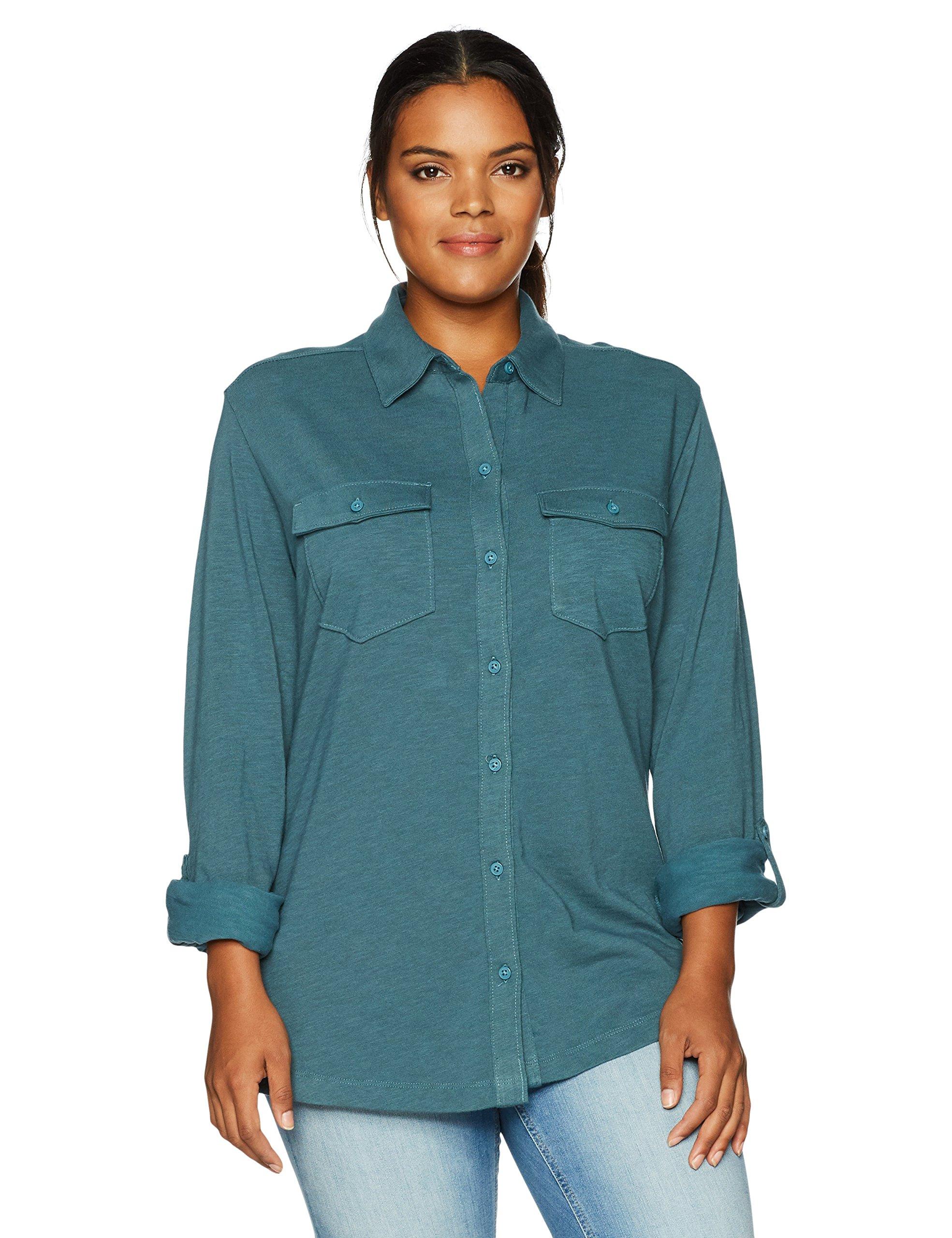 Columbia Women's Plus Sizeeasygoing Button Down Shirt Size, Cloudburst, 1X