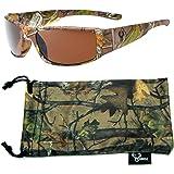Hornz Polarized Sunglasses for Men Brown Forrest & Orange Camouflage Full Frame