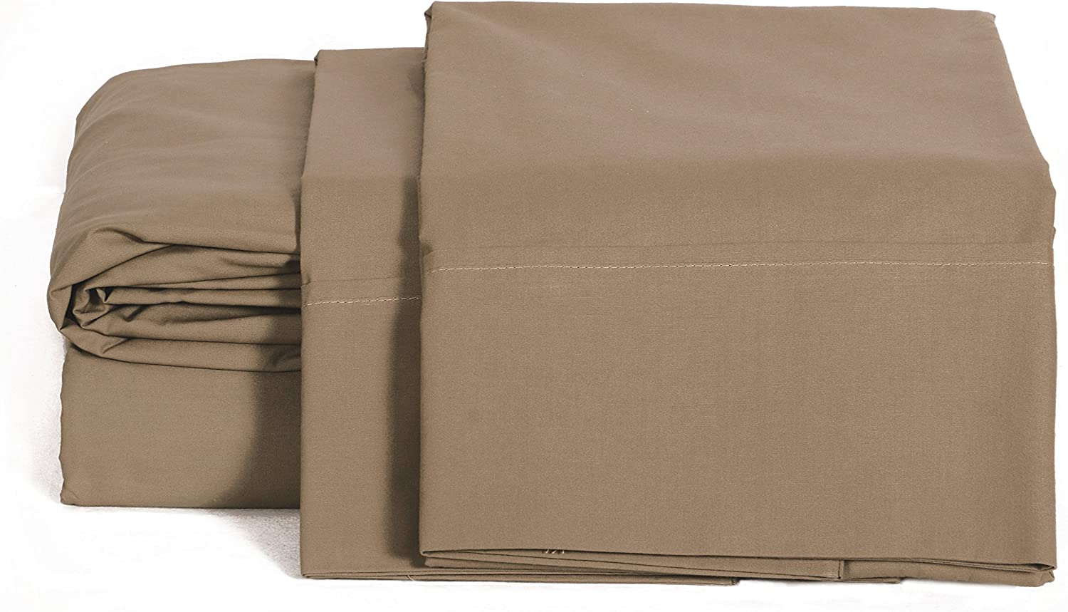 100% Cotton Percale Sheets King Size, Taupe, Deep Pocket, 4 Piece - 1 Flat, 1 Deep Pocket Fitted Sheet and 2 Pillowcases, Crisp and Strong Bed Linen