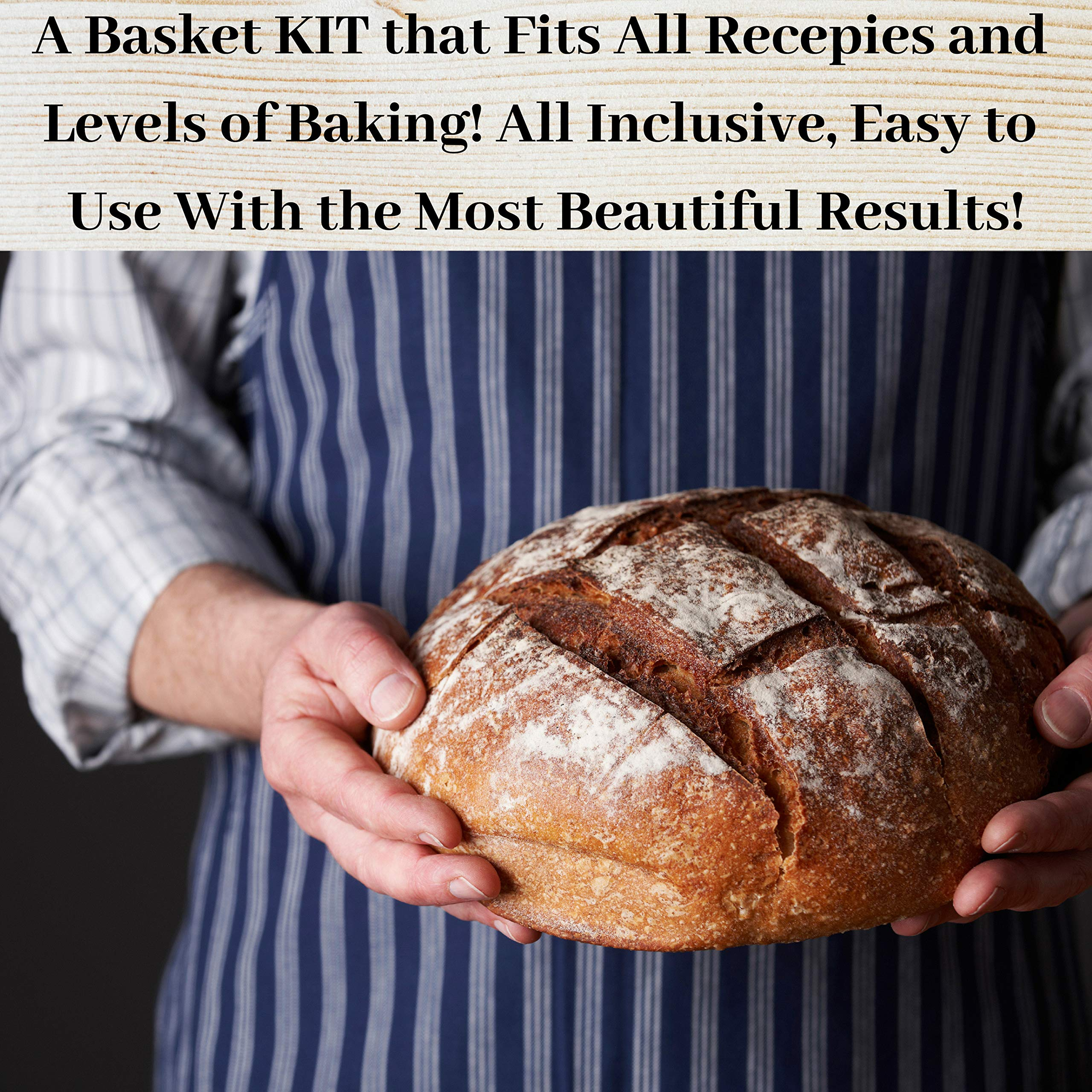 KIT 10 Inch Bread Basket Sourdough Starter - Banneton Proofing Basket, Dough Scraper, Bread Lame, Liner & FREE EBOOK - Bread Proofing Basket for Bread Baking Supplies, Bread Making Tools by PremiumBake (Image #8)