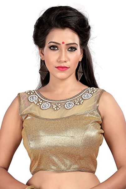 5cc08afee323d8 Shreeji Designer Women's Cotton Stone Work Blouses (V-RM-H-06-Golden-2_Free  Size): Amazon.in: Clothing & Accessories