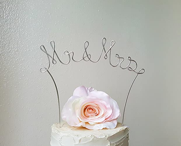 Amazon mr mrs silver wedding cake topper wedding cake mr mrs silver wedding cake topper wedding cake decoration anniversary decoration bridal junglespirit Choice Image