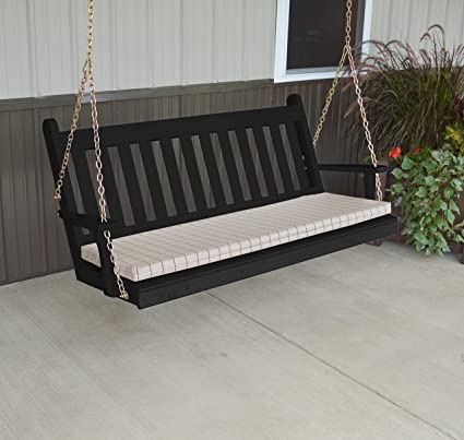 Gentil Wood Porch Swing, Amish Outdoor Hanging Porch Swings, Patio Wooden 2 Person  Seat Swinging