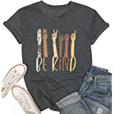 KIDDAD Be Kind Sign Language Shirt Women Inspirational Graphic Tees Casual Short Sleeve Loose Tops