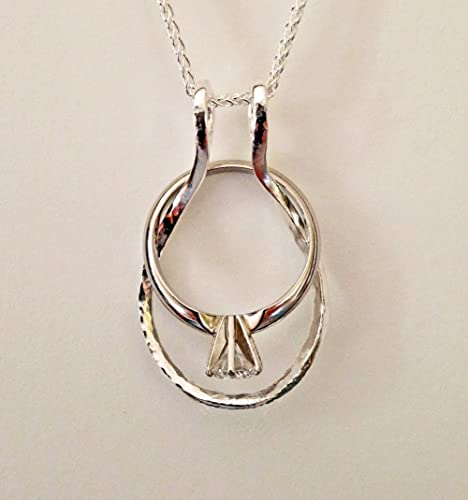 ring holder necklace hammered dewdrop by ali c art made in usa is - Wedding Ring Holder Necklace
