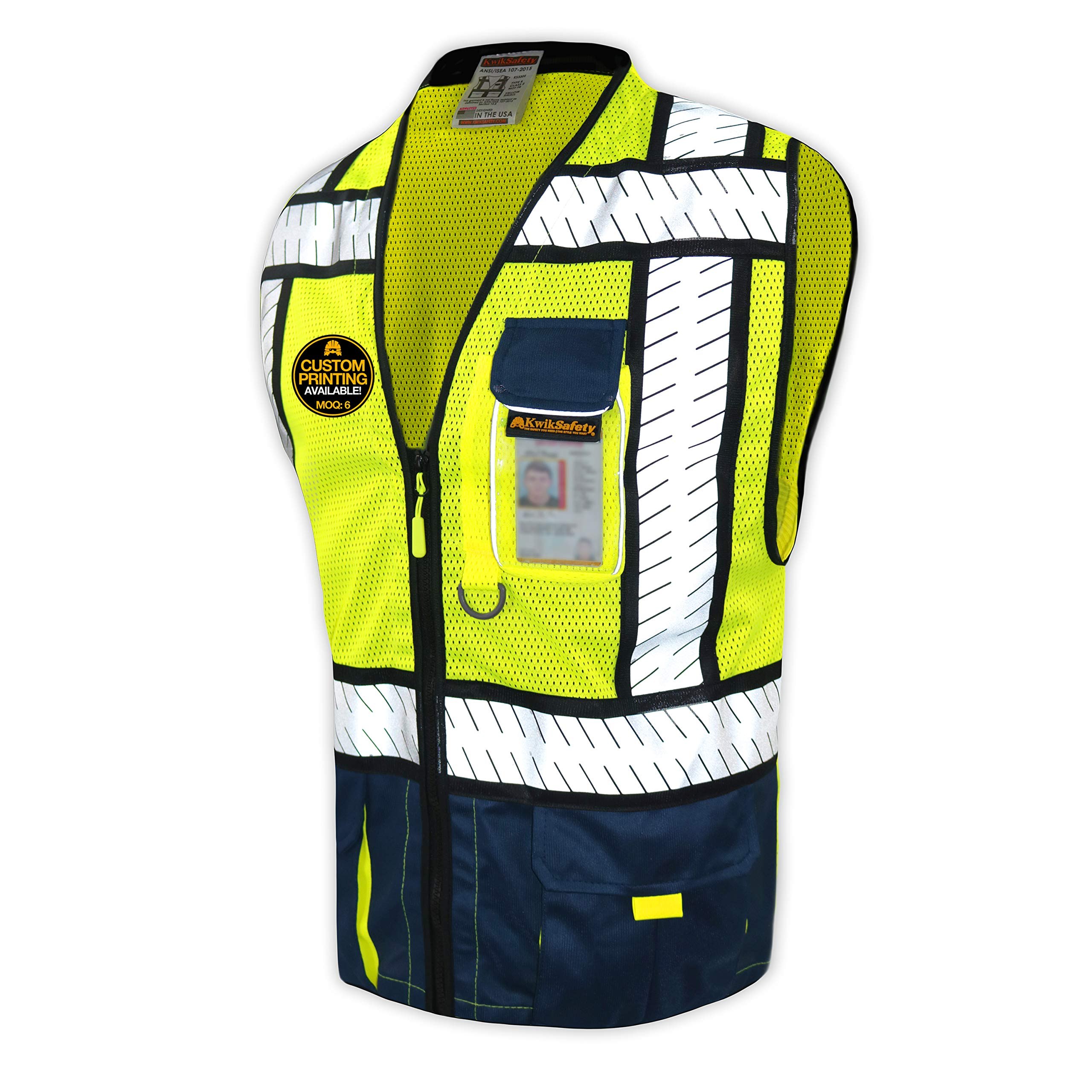 KwikSafety (Charlotte, NC) SHERIFF (Multi-Use Pockets) Class 2 ANSI High Visibility Reflective Safety Vest Heavy Duty Solid/Mesh and with zipper HiVis Construction Surveyor Work Mens Blue SMALL