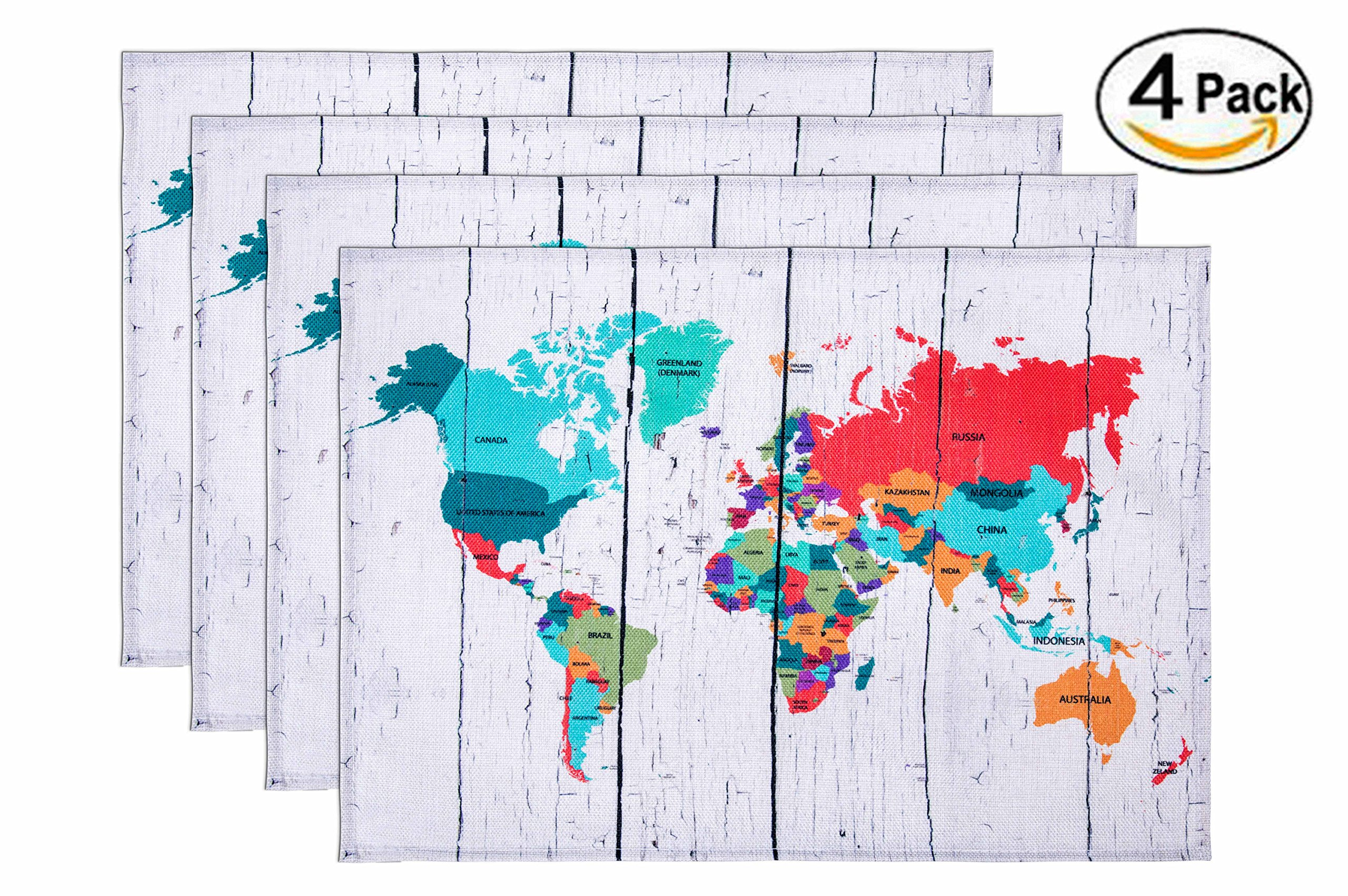 HONEYJOY Cotton Linen Placemats Set of 4 World Map Printing Textile Washable Heat-resistant Non-slip Colourfast Decorative Rectangle Dining Table Mats for Home Kitchen Office Striped Beige (13'' x 17'')