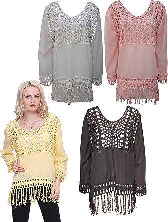 Las mujeres sueltos Casual Sexy Encaje Camiseta Verano Tops blusa señoras Tropical ganchillo camiseta Top: Amazon.es: Ropa y accesorios