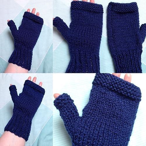 Royal Blue Hand Knit Fingerless Gloves Amazon Handmade