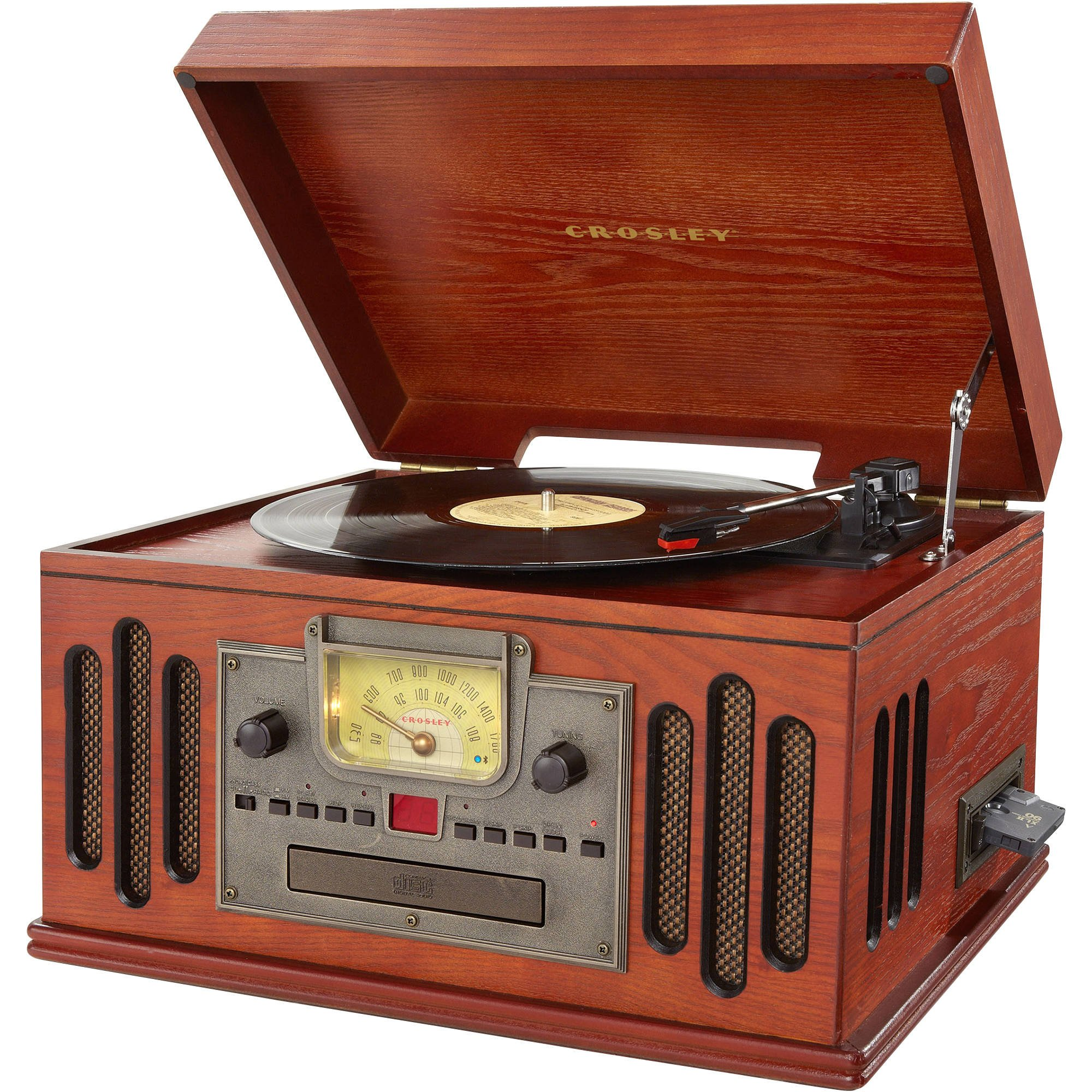Crosley CR704D-PA Musician 3-Speed Turntable with Radio, Cd/Cassette Player, Aux-in and Bluetooth, Paprika by Crosley