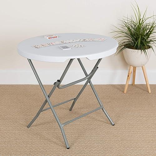 Flash Furniture 2.63-Foot Round Granite White Plastic Folding Table