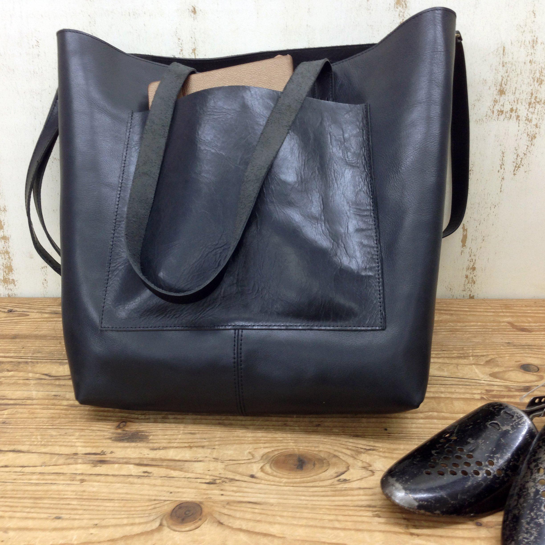 Black leather tote bag Women's crossbody Handmade shopper bag