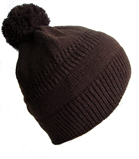 Frost Hats Winter Hat for Women and Girls BROWN Pom-Pom Winter Ski Knitted  Beanie da714275f13