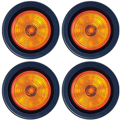 "2"" Round Amber 9 LED Light Trailer Side Marker Clearance Grommet & 2 wire Pigtail Plug - Qty 4: Automotive"