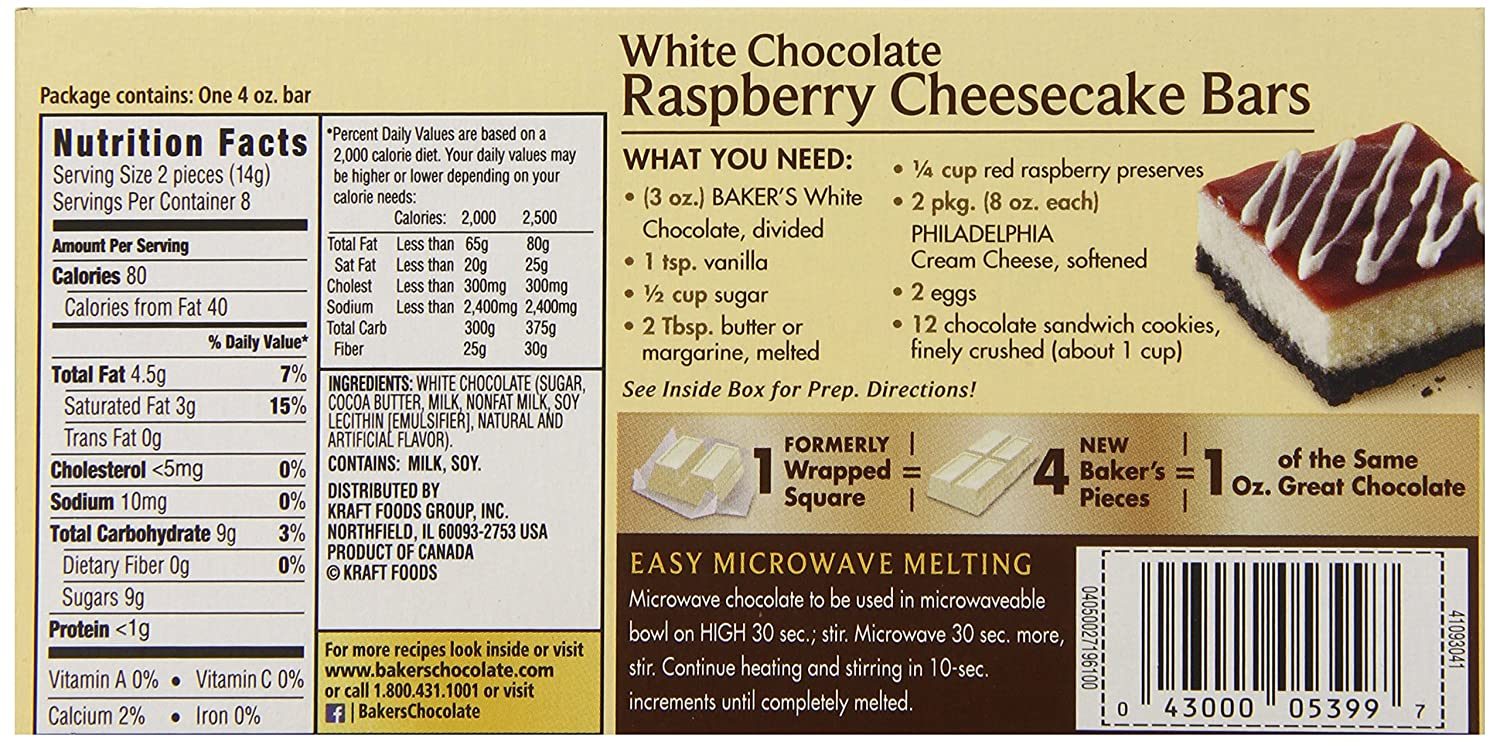 Amazon.com : Baker's Premium White Chocolate, Baking Chocolate Bar ...