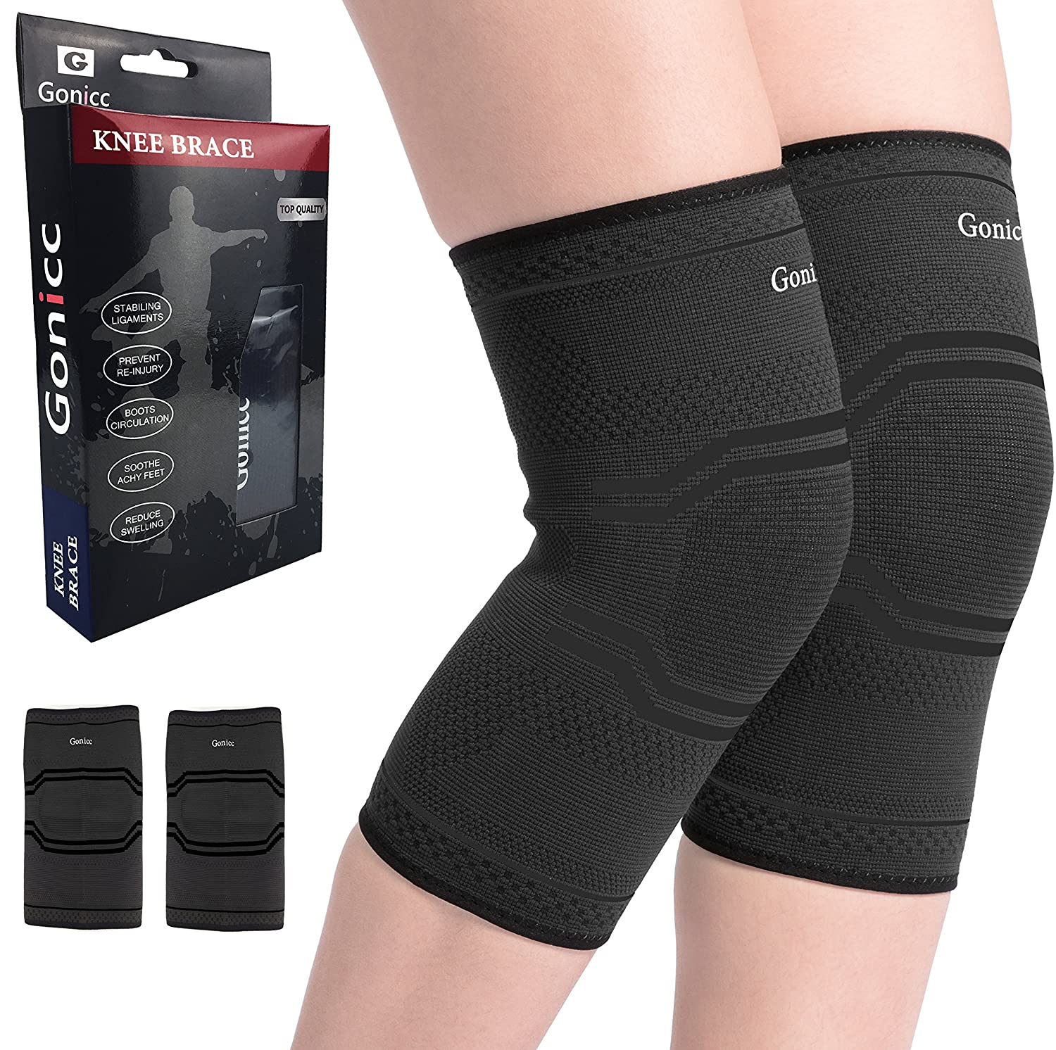 gonicc Professional Foot Sleeve Pair(2 Pcs) Compression Wrap Support, Breathable, Stabiling Ligaments, Prevent Re-Injury, Boots Circulation, Soothe Achy Feet, Reduce Swelling, Ankle Brace