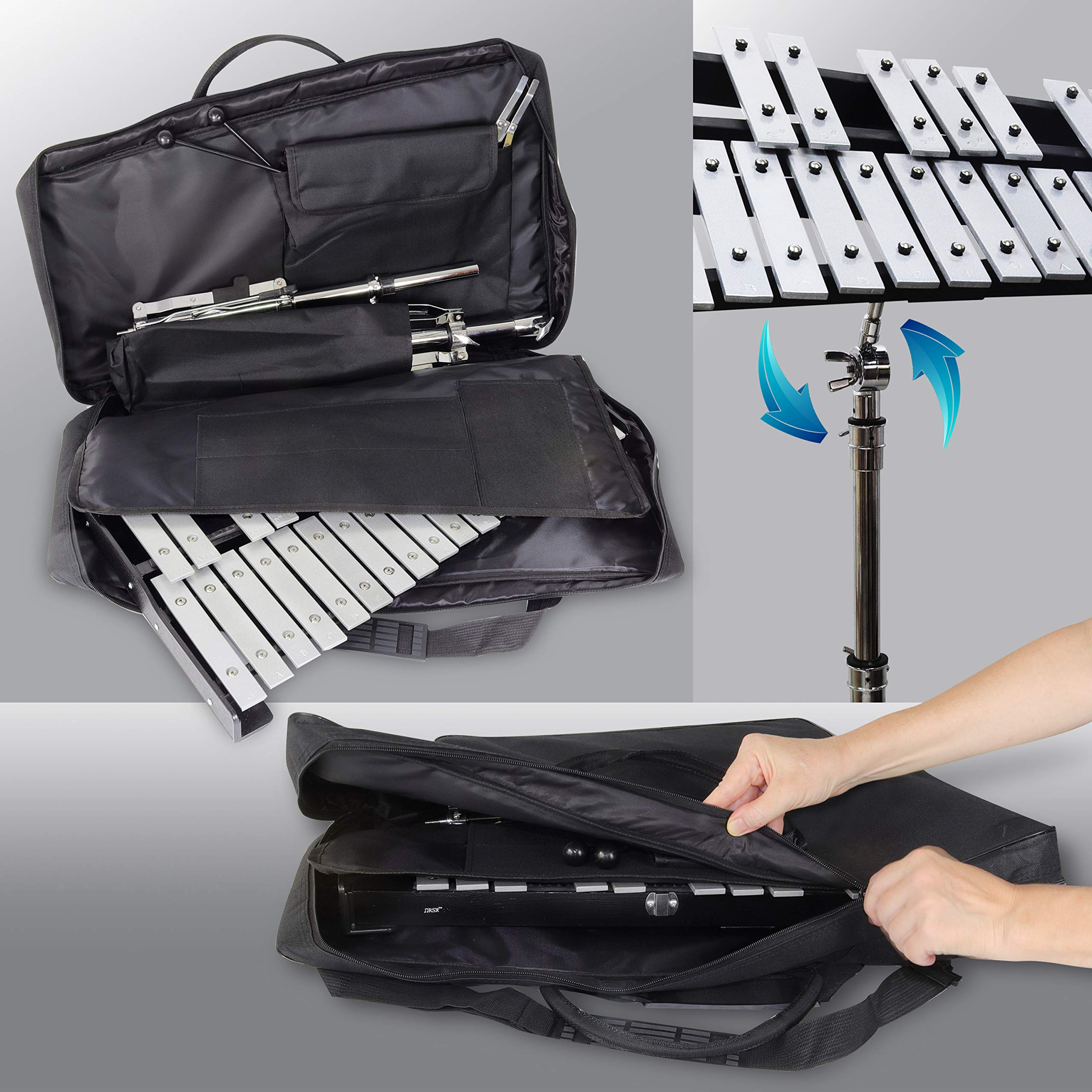 30 note Professional Glockenspiel - Metal Bell Kit Xylophone with Stand, Note Holder and Carrying Bag by inTemenos (Image #5)