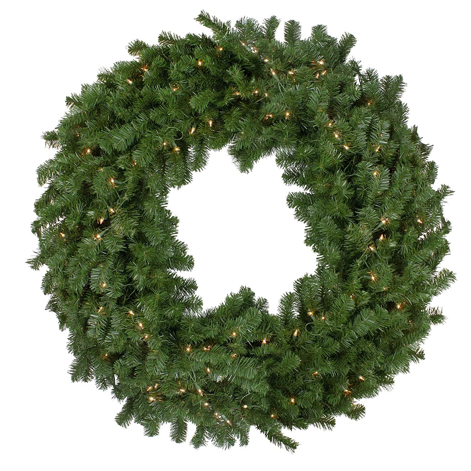 Northlight 48 Deluxe Windsor Pine Artificial Christmas Wreath Clear Lights