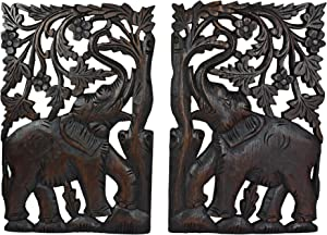 AeraVida Leisurely Couple Elephant Hand Carved Wood Wall Art Panel Set