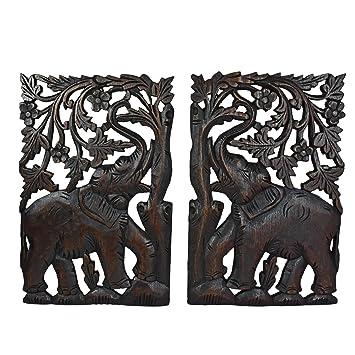 leisurely couple elephant hand carved wood wall art panel set