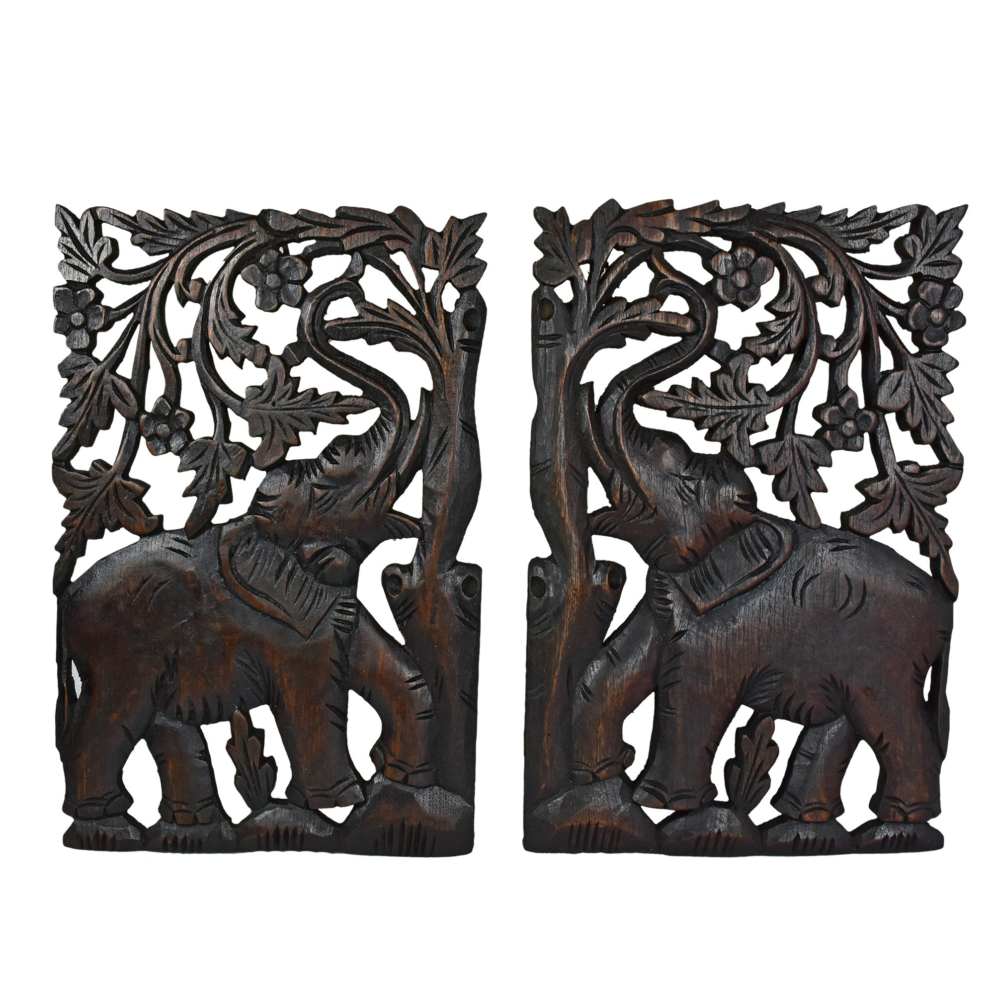 AeraVida Leisurely Couple Elephant Hand Carved Wood Wall Art Panel Set by AeraVida