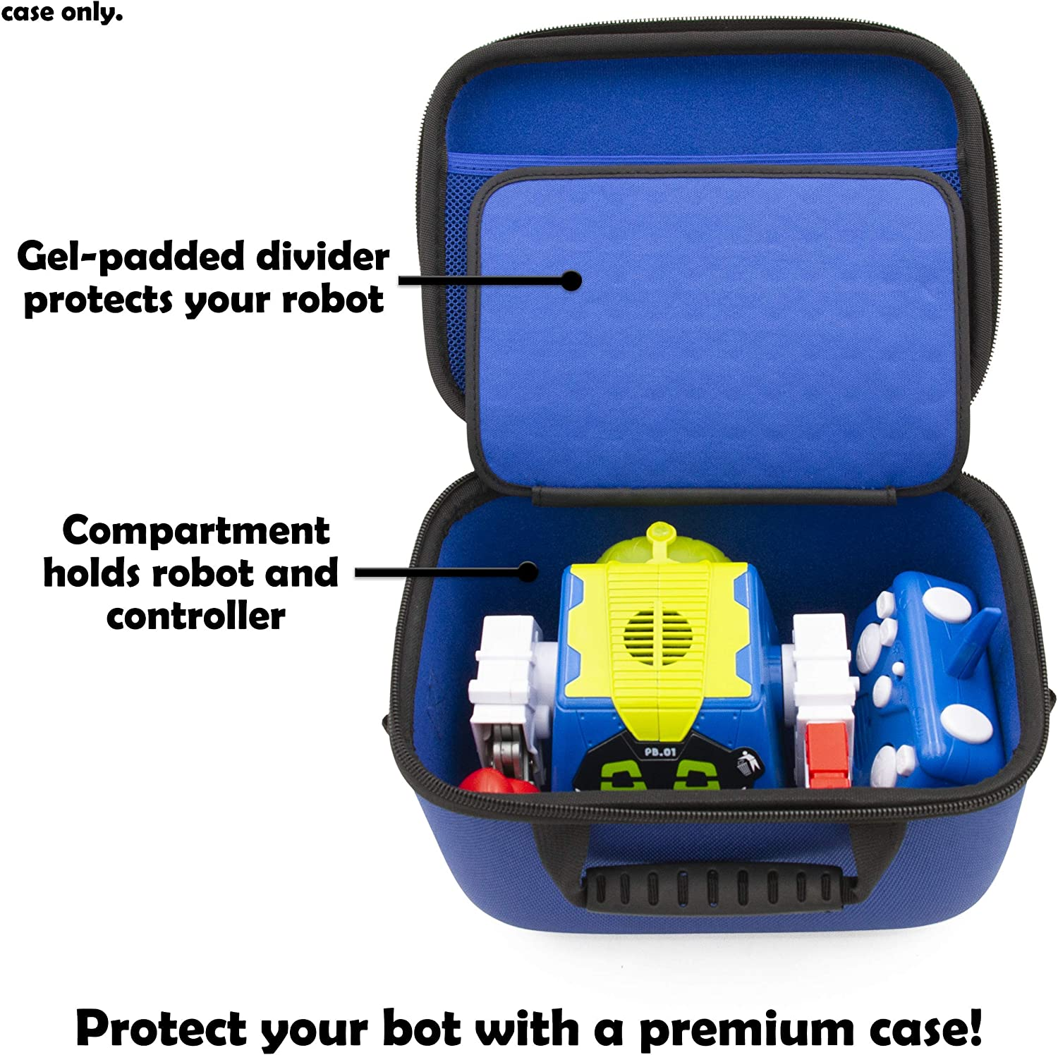 Hard Shell Case with Shoulder Strap and Accessory Storage for Big Robot with Accessories CASE ONLY CASEMATIX Travel Case Compatible with Really Rad Robots Prankbro RC Robot Toy and Controller