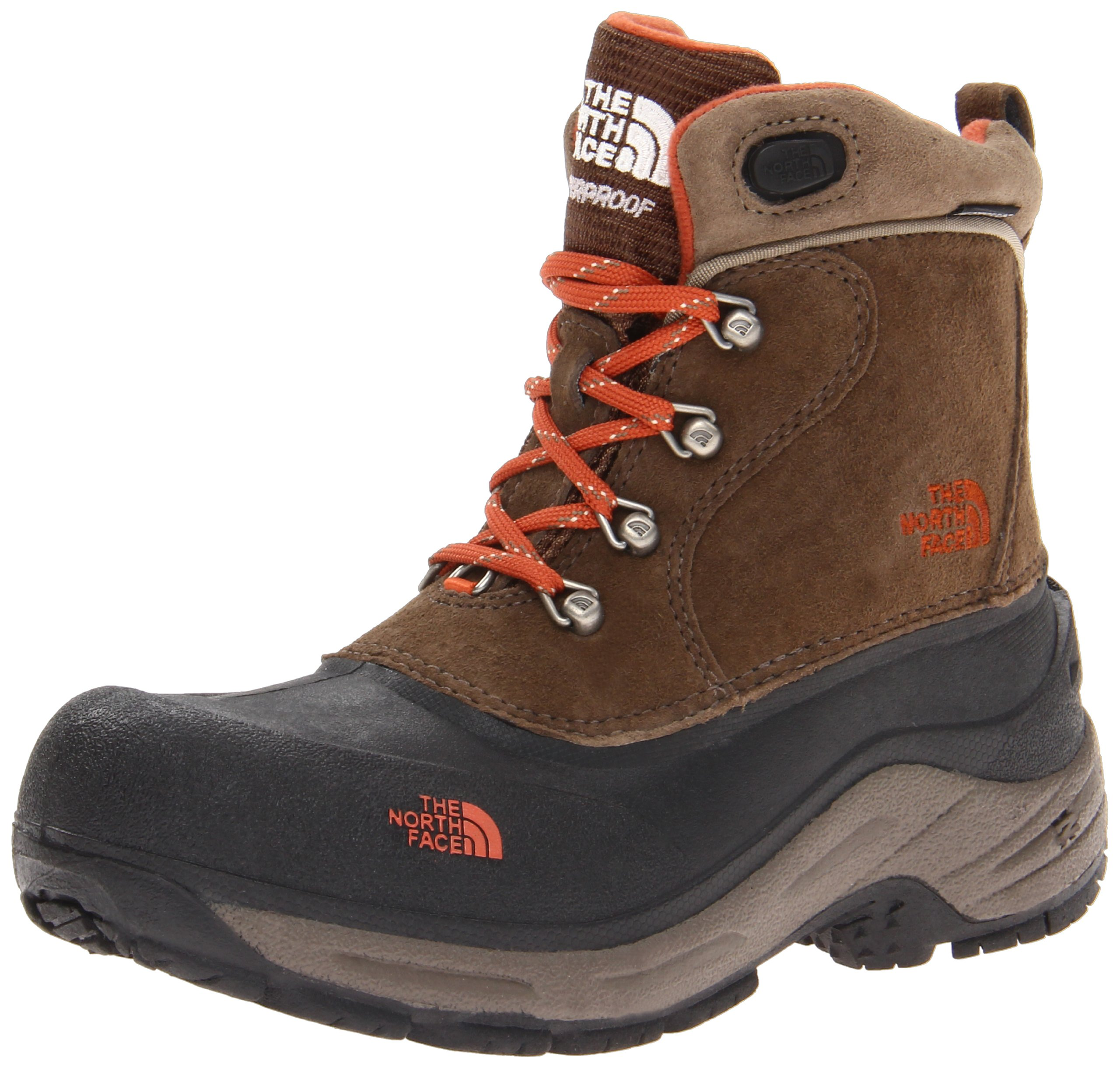 The North Face Chilkats Lace-Up Insulated Boot (Toddler/Little Kid/Big Kid),Mud Pack/Sienna Orange,4 M US Big Kid