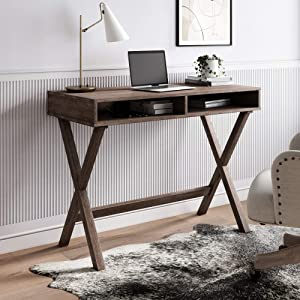 Nathan James Kalos Home Office Computer Desk or Makeup Vanity Table, Gray