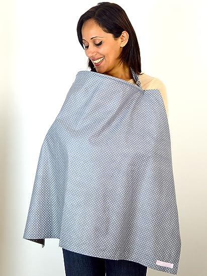 Lactancia Materna Cover/Cubierta de enfermería/enfermería chal por babybud – gris con puntos