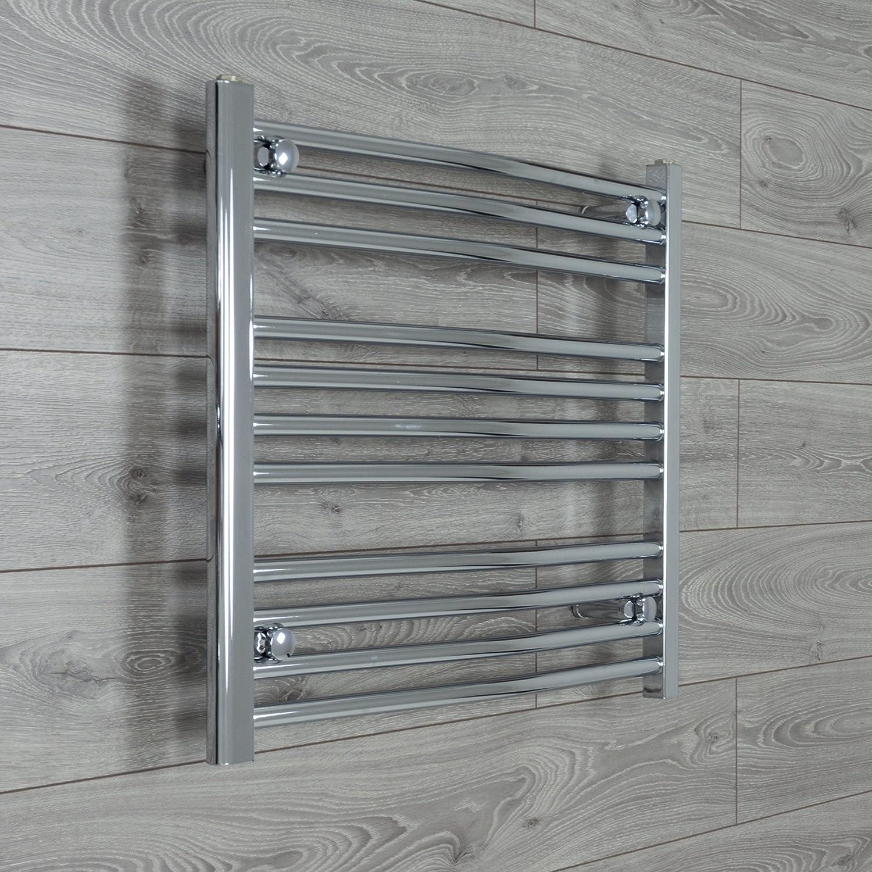 Termosifone per asciugamani da bagno cromato curvo - 700 mm x 600 mm