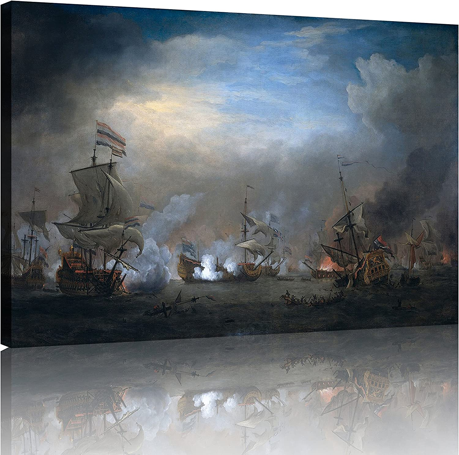NAN Wind 1 Piece Historical Ship Naval Battle Prints Picture Landscape Wall Decor Paintings on Canvas Framed Ready to Hang for Home Decor Bedroom Decor