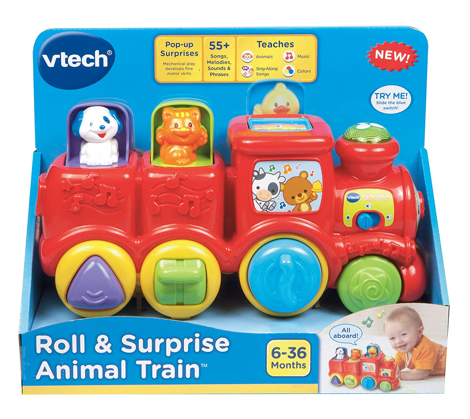 amazon com vtech roll u0026 surprise animal train toys u0026 games