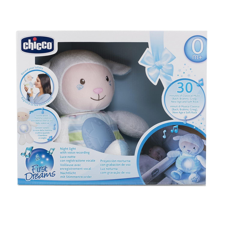 Chicco - Ovejita Dulces Nanas, suave peluche con proyector y sensor de sonido, color azul