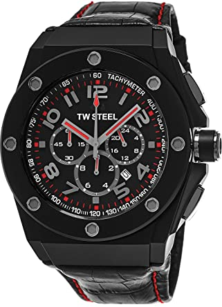 e3e86d45e36 TW Steel CEO Tech Large Round Stainless Steel Black Watch - Black Dial Date  24-