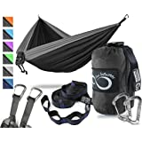 Double Outdoor Camping Hammock Set- Lightweight & Portable Two Person Hammock Set–12KN Wiregate Carabiners, 2-16 Loop Tree Straps & Compression Strap- Holds 500LBS-Ideal for Travel, Hiking & Beach