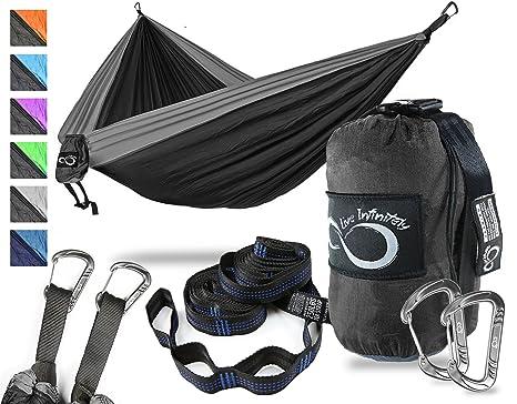 double camping hammock  best lightweight  u0026 portable two person hammock set  u2013aluminum wiregate carabiners amazon    double camping hammock  best lightweight  u0026 portable      rh   amazon